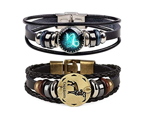 (Dcfywl731 Retro 2pcs 12 Zodiac Constellation Beaded Hand Woven Leather Bracelet Braided Punk Chain Cuff (Capricorn))