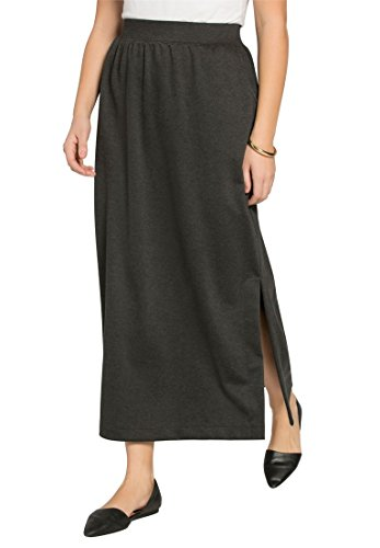 Women's Plus Size Maxi Stretch Ponte Knit Skirt Heather Charcoal,22/24