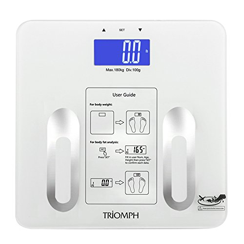 - Triomph Precision Digital Bathroom Body Fat Scale with Backlit LCD Display, Body Composition Analyzer Measures Weight,Body Fat,Water, BMI,Muscle, Bone Mass and Calorie,400 lbs, Fat Loss Monitor,White