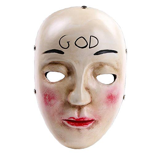 QJXSAN GOD Mask Horror Mask Smiley Party Performance Haunted House Prop Movie Mask ()