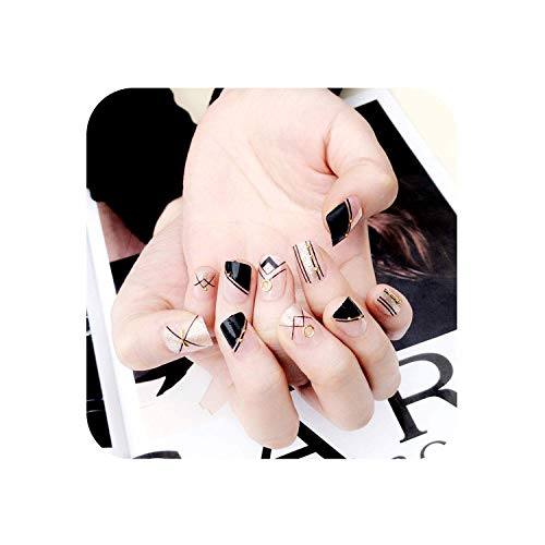 24Pcs Halloween Gift Black Solid Black Silver Glitter Geometry Oval Short Full Cover False Nail Press On Nails Decoration Unhas,color ()