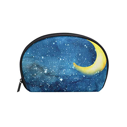 Senya Travel Cosmetic Bag Small Makeup Portable Carry Case Pouch Girls Women Personalized Organizer Tote Bag For Jewelry Toiletries Night Sky Yellow Crescent Moon Stars