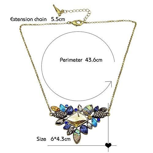 (Fashion Colorful Rhinestone Necklaces Pendants Boho Flower Necklace Antique Gold)