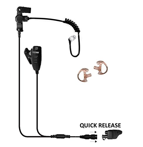 Tactical Ear Gadgets Cougar 2-Wire Surveillance Earpiece EP4028QR with Quick Release for Harris P5300, P5400, P5500, P7300, XG15, XG25, XG75 (Black Tube) by The Ear Phone Connection