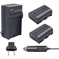 Turpow 2 Pack 2600mAh Replacement Canon LP-E6 Battery and Charger Pack for Canon EOS 80D, 60D, 60Da, EOS 70D, EOS 5D Mark II, EOS 5D Mark III, EOS 5DS, EOS 5DS R, EOS 6D, EOS 7D, 7D Mark II Camera