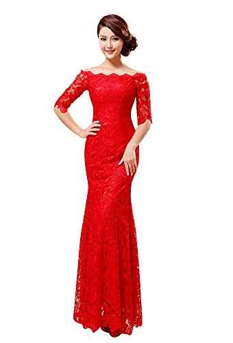 VogueZone009 Womens Bateau Half Sleeve Lace Ankle-length Lace Up Formal Dress-14W-Red by VogueZone009