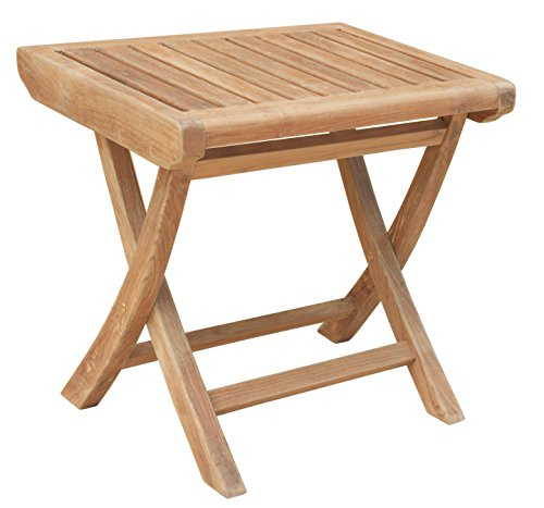 (CHIC TEAK Solid Teak Wood Miami Side Table/Footstool Made)
