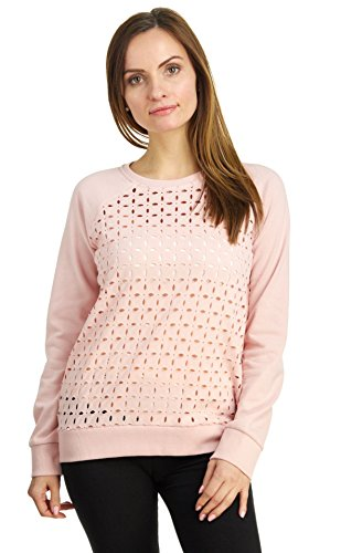 Lazer Gauge - Cable & Gauge Women's Long Sleeve Lazer Cut Looped Terry Sweatshirt, Pink Nouveau, Medium