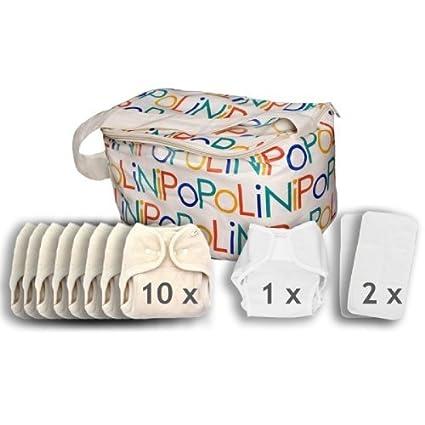 Popolini - Juego de pañales de tela (para niños de 3 a 15 kg,
