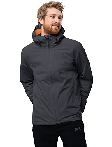 Jack Wolfskin Men's Norrland 3-IN-1 Waterproof Insulated Jacket, Ebony, Small