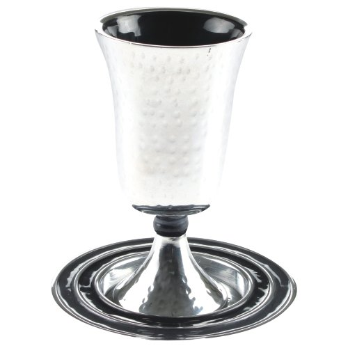 Modern Kiddush Cup and Plate, Hammered Design With Enamel, Grey ()