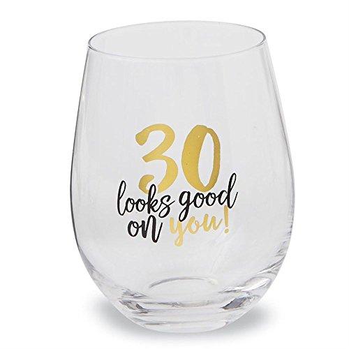 Mud Pie 30th Birthday Celebration Stemless Wine Glass 16 ounce