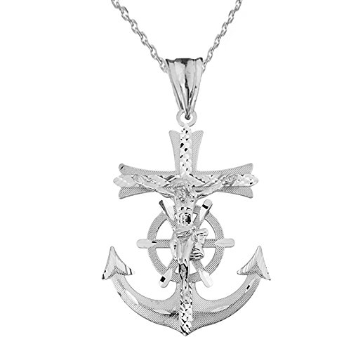 White Gold Anchor Pendant - Exquisite 14k White Gold Sparkle Cut Nautical Crucifix Cross Anchor Pendant Necklace, 18