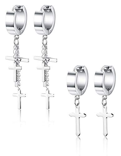 ORAZIO 2 Pairs Stainless Steel Cross Earrings for Men Women Huggie Hinged Hoop Dangle Earrings Silver Tone ()