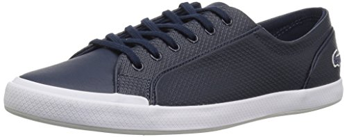 Lacoste Women's Lancelle 6 Eye Sneakers,Nvy/Ltgry Leather,9.5 M US