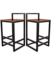 Becko Barstools Set of 2 Bar Stool Chairs with Metal Low Backrest and Footrests, Easy Assembly, Industrial Vintage Style in Living Room, Kitchen, Party Room (Rustic Brown)