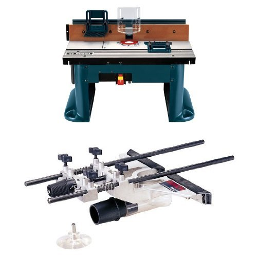 Bosch Benchtop Router Table with Deluxe Router Edge Guide With Dust Extraction Hood & Vacuum Hose Adapter