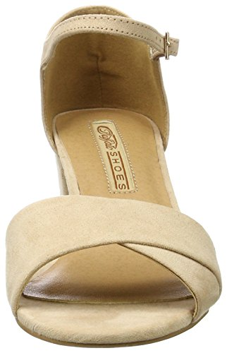 Buffalo Shoes 315267 Imi Suede Bhwmd A16, Sandalias con Cuña para Mujer Beige (NUDE 01)