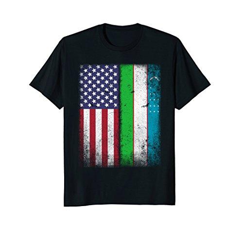 Mens Uzbekistan Flag T-shirt Large Black