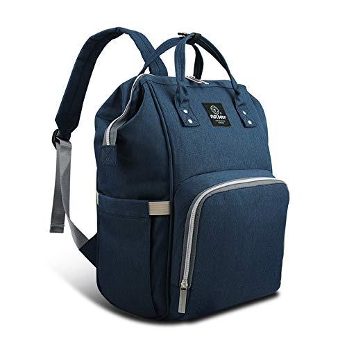 Pipi bear Diaper Bag Backpack Travel Large Spacious Tote Shoulder Bag Organizer (Navy Blue)