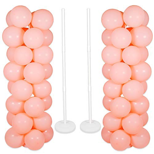 Balloon Columns Kit (2 Sets Thicken Adjustable Balloon Column Stand Kit Base and Pole 5 Feet Balloon Tower Decorations for Baby Shower Graduation Birthday Wedding)