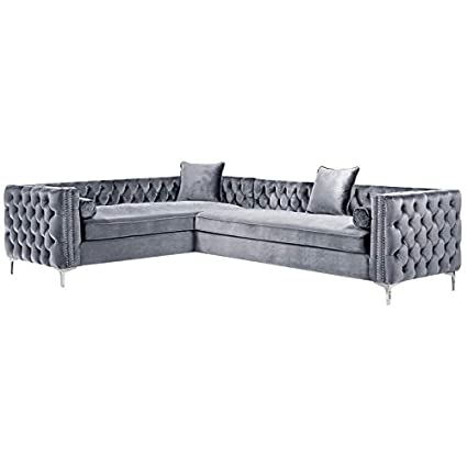 Amazon Com Posh Living Levi Grey Velvet Corner Sectional Sofa 120