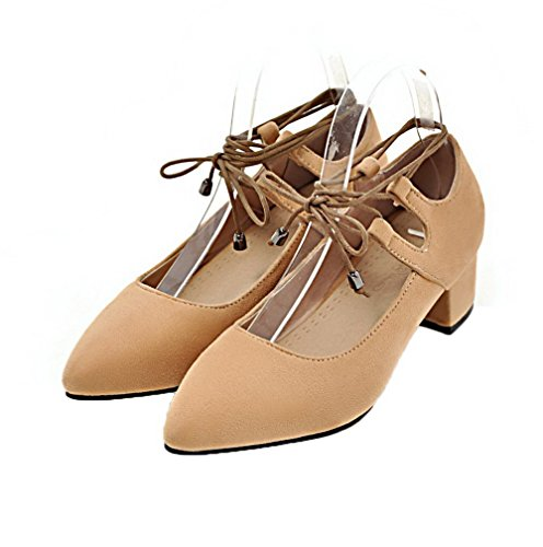 Pumps Low Toe Shoes up Lace Heels Closed Apricot Frosted Odomolor Solid Women's zq5na