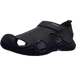 Crocs Men's Swiftwater Sandal Flat, black/black, 11 M US