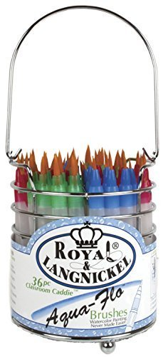 Royal Brush AQUAFLOCAD-36 Aqua-Flo Taklon Plastic Handle Classroom Caddies Brush Set, White (Pack of 36)