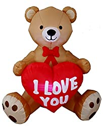 4 Foot Tall Valentine's Day Inflatable Teddy Bear with Love...