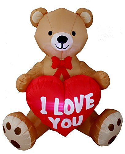4 Foot Tall Valentine's Day Inflatable Teddy Bear with Love Heart Yard Blow Up Decoration, Romantic Sweet Valentines Gift for Couples, Cute Gift Idea (Angels Snowman Night Light)
