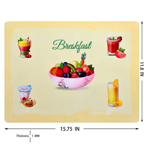 (M Health Life Color Printed Non-Slip Silicone Placemat (Happy Breakfast Pattern) Well-Designed Patterns Enhance The Refined and Inviting Atmosphere of The Restaurant (Cream Color))