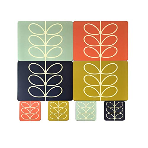 - OFFICIAL LICENSED ORLA KIELY LINEAR STEM LEAF PLACEMATS & COASTERS PRESENT GIFT BOXED