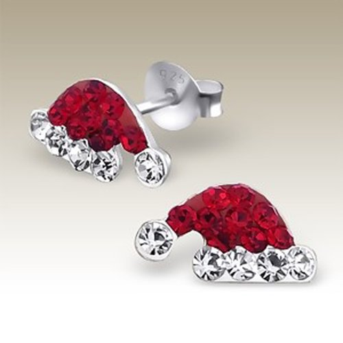 - Santa Hat Earrings, Silver Ear Studs with Crystal Stones, Children Earrings, Sterling Silver 925 (E16657)