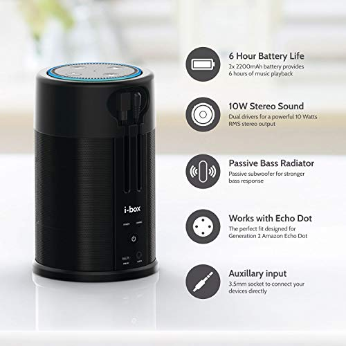 Wireless Battery Speaker for Amazon Echo Dot 2nd Generation by i-box (Image #4)