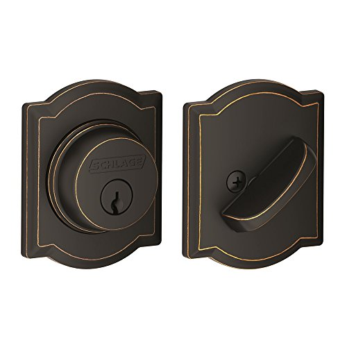 Single Cylinder Deadbolt with Camelot Trim, Aged Bronze (B60 N CAM 716)