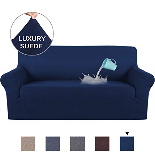H.VERSAILTEX Deluxe Sofa Cover/Slipcover (1 Piece Styles) Rich Suede Stretch Fabric Plush Slip Resistant Stylish Furniture Shield/Protector, Water Repellent (Sofa, Navy)