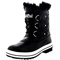 Polar Products Womens Snow Boot Quilted Short Winter Snow Rain Warm Waterproof Boots - 8 - BLL39 YC0023