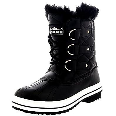 Amazon.com | Womens Snow Boot Nylon Short Winter Snow Fur