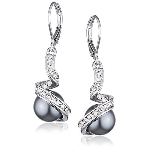- Yoursfs Lab Created Grey Pearl Leverback Earrings For Women Crystal Rhinestone Dangles Bridal Earrings