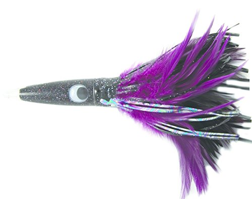- C&H Wahoo Wacker Feathers 10-Inch Lure, Black Foil and Purple