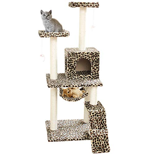 Cat Tree Scratcher Play House Condo Furniture Bed Post Pet House (Leopard Skin 58″)