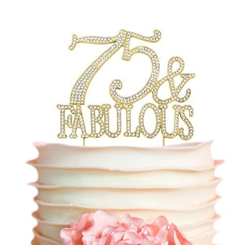 75 & Fabulous GOLD Cake Topper | Premium Sparkly Crystal Rhinestones | 75th Birthday Decoration Ideas | Perfect Keepsake (75&Fab Gold) ()