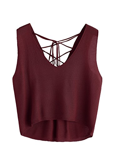 MakeMeChic Women's Lace Up V Neck Knit Crop Tank Top Burgundy one-size