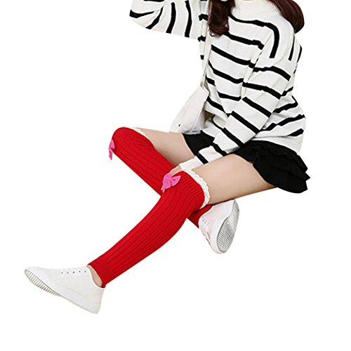 Arm To Knit How Warmers - Vovotrade 1 Pair Women Bowknot Knitted Stocking Leg Warmers Trim Socks (Red)