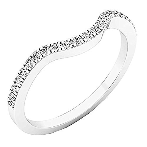 0.15 Carat (ctw) 10K White Gold Round White Diamond Anniversary Ring Wedding Guard Band (Size 7) by DazzlingRock Collection