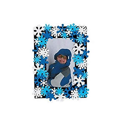 Foam Snowflake Photo Frame Magnet - Bargain World Foam Snowflake Photo Frame Magnet Craft Kit (12/pkg) (with Sticky Notes)
