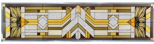 MISSION Painted Glass Window Transom 42 x 10.25 CRAFTSMAN Architectural (Stained Glass Transom)