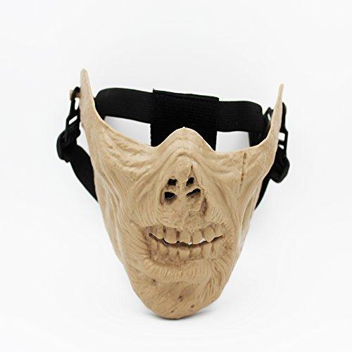 [Lyricall Hunting CS War Gun Game Airsoft Half Face Protective Military Zombie Skull Mask M05 (Salad)] (Moving Men Dog Costume)