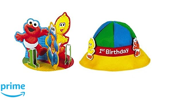 Amazon Sesame Street 1rst Birthday Party Hat And Decorations Baby Centerpiece Toys Games